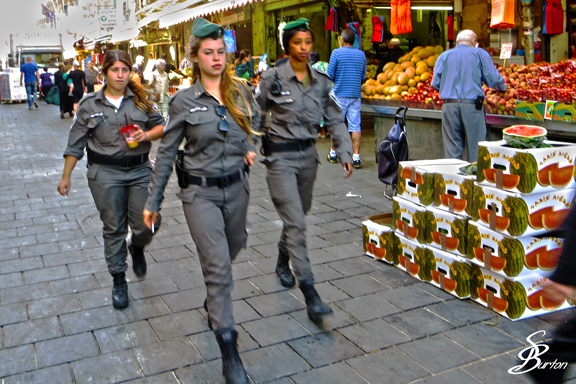 As I was shopping at the Shuk in Jerusalem today, I saw these Israeli police women who were obviously on the way somewhere.