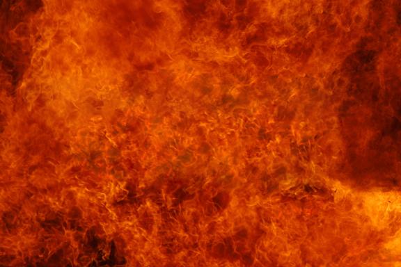 A blazing fire inferno